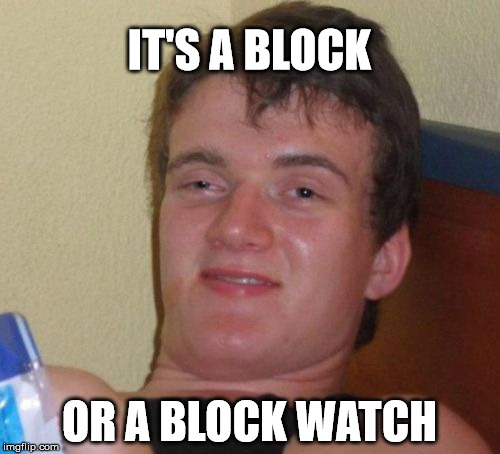 10 Guy Meme | IT'S A BLOCK OR A BLOCK WATCH | image tagged in memes,10 guy | made w/ Imgflip meme maker