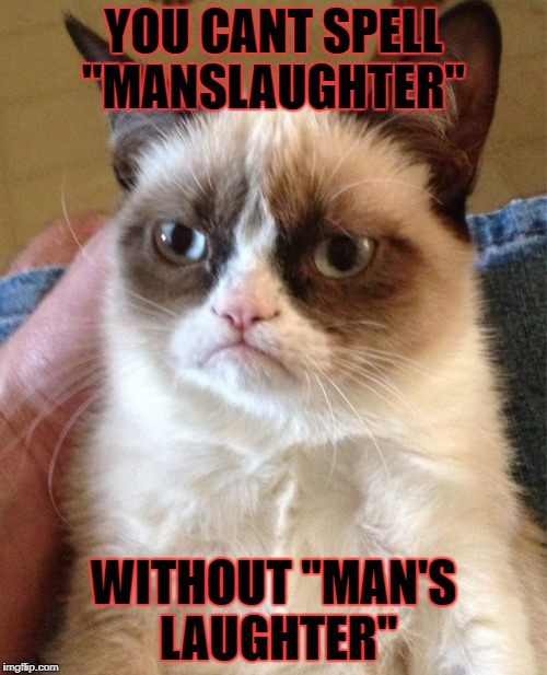 "Grumpy Cat Meme | YOU CANT SPELL ""MANSLAUGHTER"" WITHOUT ""MAN'S LAUGHTER"" 