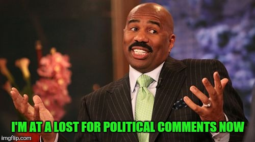 Steve Harvey Meme | I'M AT A LOST FOR POLITICAL COMMENTS NOW | image tagged in memes,steve harvey | made w/ Imgflip meme maker