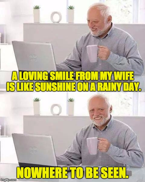 Hide the Pain Harold Meme | A LOVING SMILE FROM MY WIFE IS LIKE SUNSHINE ON A RAINY DAY. NOWHERE TO BE SEEN. | image tagged in memes,hide the pain harold | made w/ Imgflip meme maker