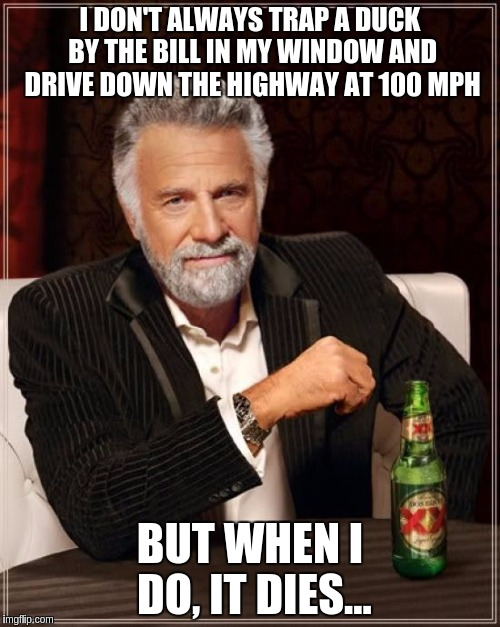 The Most Interesting Man In The World Meme | I DON'T ALWAYS TRAP A DUCK BY THE BILL IN MY WINDOW AND DRIVE DOWN THE HIGHWAY AT 100 MPH BUT WHEN I DO, IT DIES... | image tagged in memes,the most interesting man in the world | made w/ Imgflip meme maker