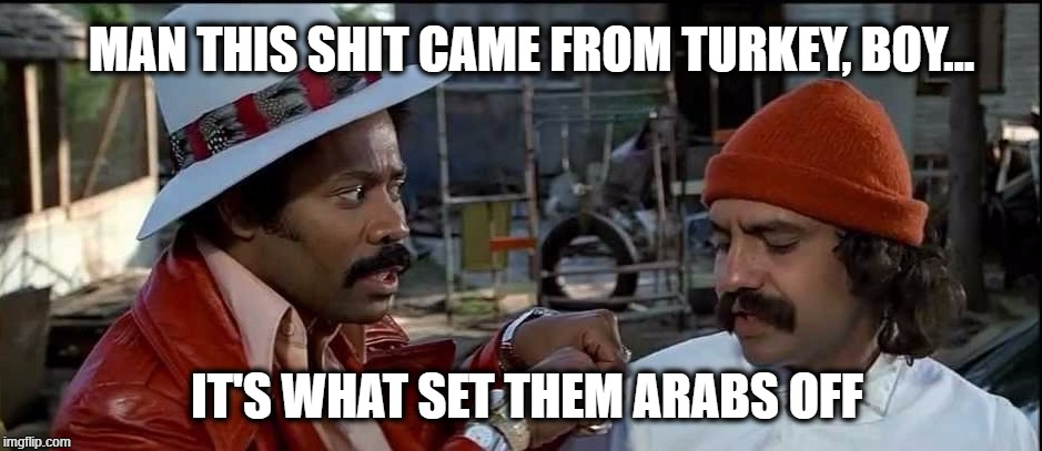 MAN THIS SHIT CAME FROM TURKEY, BOY... IT'S WHAT SET THEM ARABS OFF | image tagged in cheech | made w/ Imgflip meme maker