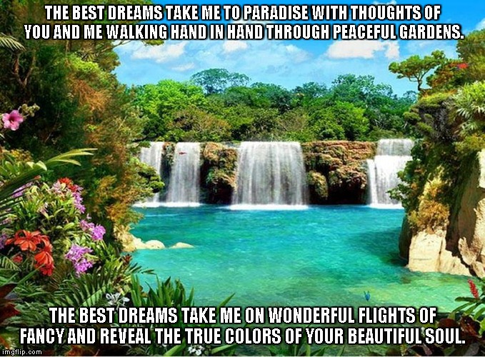Colors of the Soul | THE BEST DREAMS TAKE ME TO PARADISE WITH THOUGHTS OF YOU AND ME WALKING HAND IN HAND THROUGH PEACEFUL GARDENS. THE BEST DREAMS TAKE ME ON WO | image tagged in paradise,dreams,gardens,true colors,beautiful soul | made w/ Imgflip meme maker