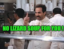 You Green Frog | NO LIZARD SOUP FOR YOU ! | image tagged in lizard,meme,seinfield,memes,funny,soup | made w/ Imgflip meme maker