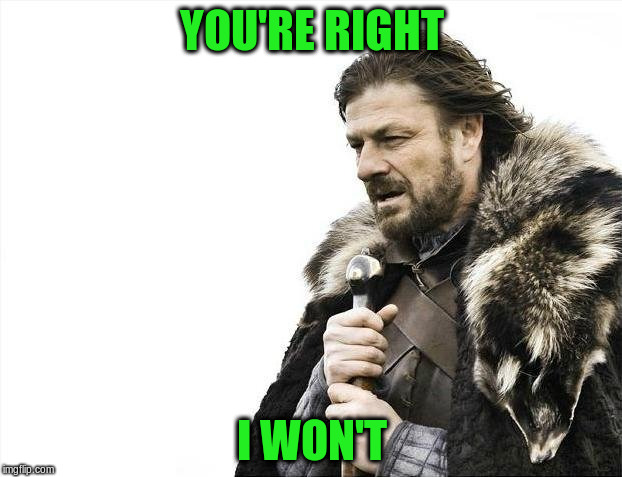 Brace Yourselves X is Coming Meme | YOU'RE RIGHT I WON'T | image tagged in memes,brace yourselves x is coming | made w/ Imgflip meme maker