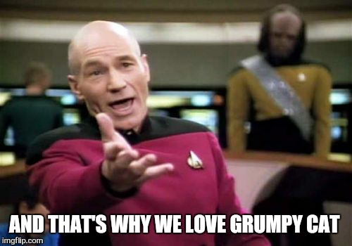 Picard Wtf Meme | AND THAT'S WHY WE LOVE GRUMPY CAT | image tagged in memes,picard wtf | made w/ Imgflip meme maker