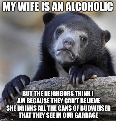 Confession Bear Meme | MY WIFE IS AN ALCOHOLIC BUT THE NEIGHBORS THINK I AM BECAUSE THEY CAN'T BELIEVE SHE DRINKS ALL THE CANS OF BUDWEISER THAT THEY SEE IN OUR GA | image tagged in memes,confession bear | made w/ Imgflip meme maker