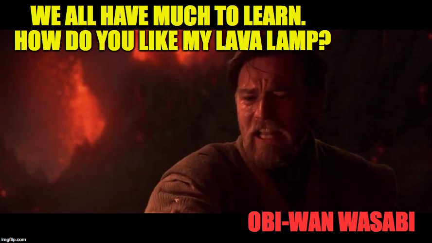 Teamwork makes the dream work | WE ALL HAVE MUCH TO LEARN.  HOW DO YOU LIKE MY LAVA LAMP? OBI-WAN WASABI | image tagged in memes,star wars,obi-wan | made w/ Imgflip meme maker