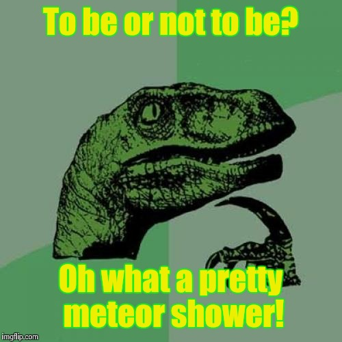 Philosoraptor Meme | To be or not to be? Oh what a pretty meteor shower! | image tagged in memes,philosoraptor | made w/ Imgflip meme maker