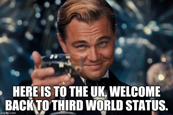 Leonardo Dicaprio Cheers Meme | HERE IS TO THE UK, WELCOME BACK TO THIRD WORLD STATUS. | image tagged in memes,leonardo dicaprio cheers | made w/ Imgflip meme maker