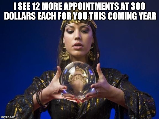 I SEE 12 MORE APPOINTMENTS AT 300 DOLLARS EACH FOR YOU THIS COMING YEAR | made w/ Imgflip meme maker