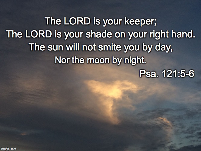 The LORD is your keeper; The LORD is your shade on your right hand. The sun will not smite you by day, Nor the moon by night. Psa. 121:5-6 | image tagged in keeper | made w/ Imgflip meme maker