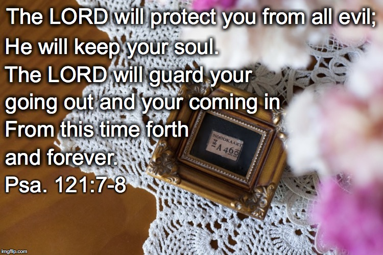 The LORD will protect you from all evil; He will keep your soul. The LORD will guard your going out and your coming in From this time forth  | image tagged in keep your soul | made w/ Imgflip meme maker