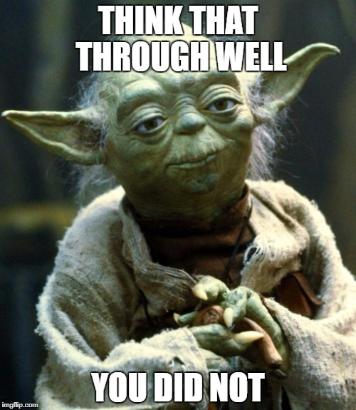Star Wars Yoda Meme | THINK THAT THROUGH WELL YOU DID NOT | image tagged in memes,star wars yoda | made w/ Imgflip meme maker