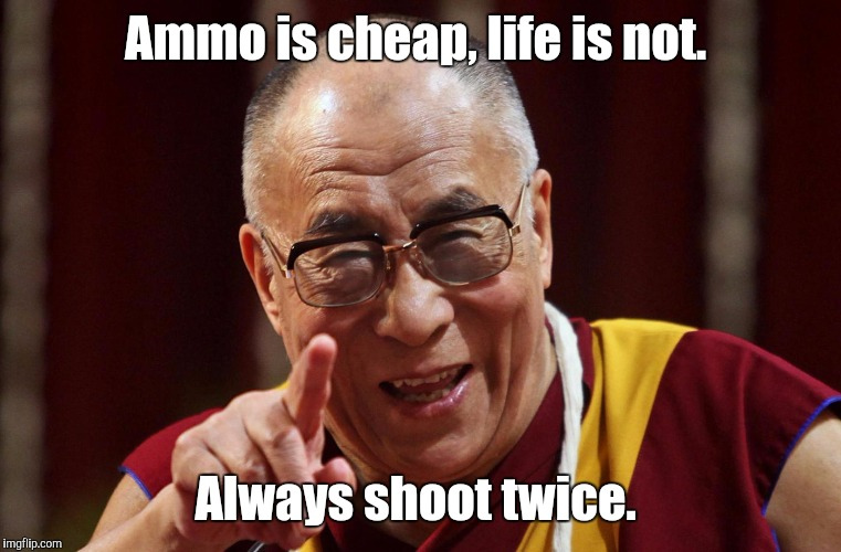 Words to live by.  | Ammo is cheap, life is not. Always shoot twice. | image tagged in dali lama,funny meme,guns,ammo | made w/ Imgflip meme maker