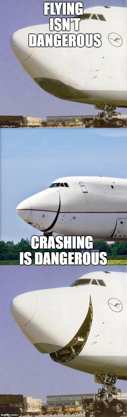 Just Plane Jokes | FLYING ISN'T DANGEROUS CRASHING IS DANGEROUS | image tagged in just plane jokes | made w/ Imgflip meme maker