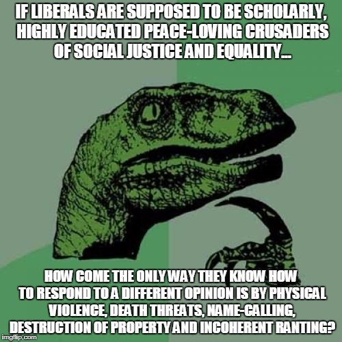 Philosoraptor Ponders Liberal Hypocrisy | IF LIBERALS ARE SUPPOSED TO BE SCHOLARLY, HIGHLY EDUCATED PEACE-LOVING CRUSADERS OF SOCIAL JUSTICE AND EQUALITY... HOW COME THE ONLY WAY THE | image tagged in memes,philosoraptor,liberal hypocrisy,libtards,liberal logic,regressive left | made w/ Imgflip meme maker