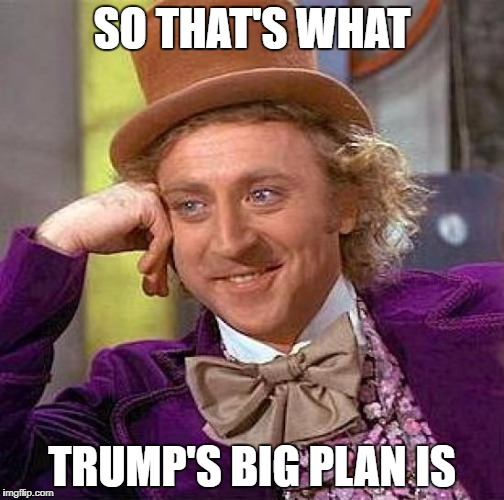 Creepy Condescending Wonka Meme | SO THAT'S WHAT TRUMP'S BIG PLAN IS | image tagged in memes,creepy condescending wonka | made w/ Imgflip meme maker