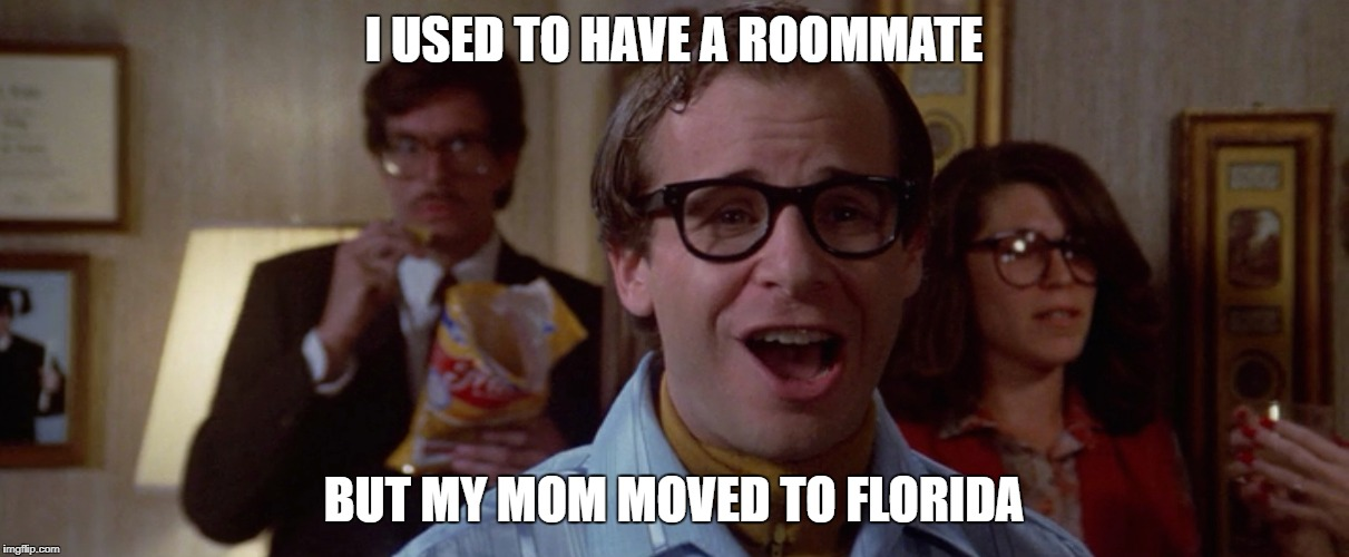 Louis | I USED TO HAVE A ROOMMATE BUT MY MOM MOVED TO FLORIDA | image tagged in ghostbusters,louis tully,rick moranis | made w/ Imgflip meme maker