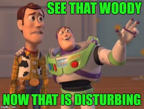 X, X Everywhere Meme | SEE THAT WOODY NOW THAT IS DISTURBING | image tagged in memes,x,x everywhere,x x everywhere | made w/ Imgflip meme maker