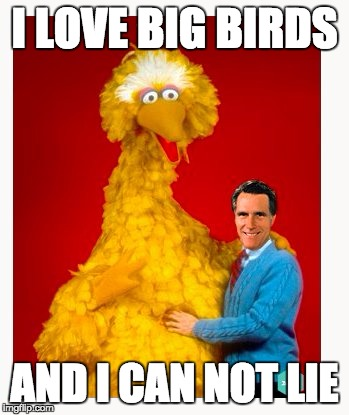 Other Brothers Can Deny | I LOVE BIG BIRDS AND I CAN NOT LIE | image tagged in memes,big bird and mitt romney | made w/ Imgflip meme maker