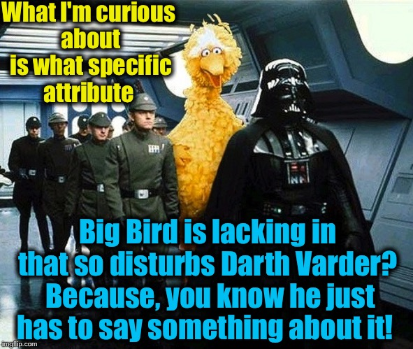 I would love to hear the dialogue in this scene, it would have to be hilarious!  | What I'm curious about is what specific attribute Big Bird is lacking in that so disturbs Darth Varder?  Because, you know he just has to sa | image tagged in star wars,memes,evilmandoevil,big bird,sesame street,funny | made w/ Imgflip meme maker