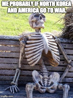 Waiting Skeleton Meme | ME PROBABLY IF NORTH KOREA AND AMERICA GO TO WAR. | image tagged in memes,waiting skeleton | made w/ Imgflip meme maker