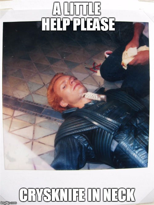A little help please | A LITTLE HELP PLEASE CRYSKNIFE IN NECK | image tagged in dune | made w/ Imgflip meme maker