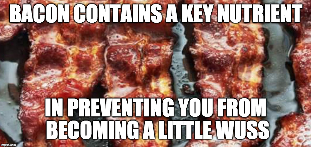 What can't it do? | BACON CONTAINS A KEY NUTRIENT IN PREVENTING YOU FROM BECOMING A LITTLE WUSS | image tagged in bacon strips,iwanttobebacon,iwanttobebaconcom | made w/ Imgflip meme maker
