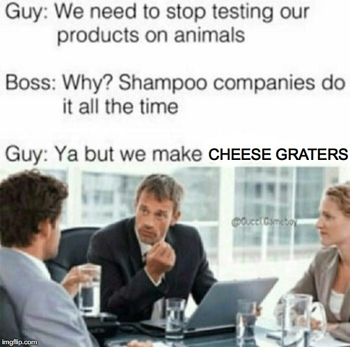 Stop Animal Testing | CHEESE GRATERS | image tagged in testing,animals,funny meme | made w/ Imgflip meme maker