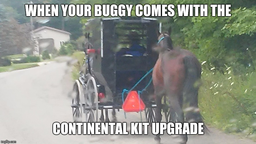 WHEN YOUR BUGGY COMES WITH THE CONTINENTAL KIT UPGRADE | image tagged in amish buggy | made w/ Imgflip meme maker