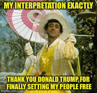 MY INTERPRETATION EXACTLY THANK YOU DONALD TRUMP FOR FINALLY SETTING MY PEOPLE FREE | made w/ Imgflip meme maker