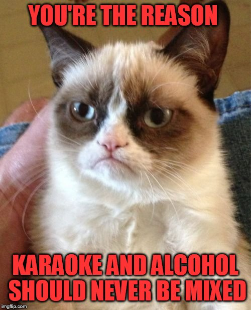 Grumpy Cat Meme | YOU'RE THE REASON KARAOKE AND ALCOHOL SHOULD NEVER BE MIXED | image tagged in memes,grumpy cat | made w/ Imgflip meme maker