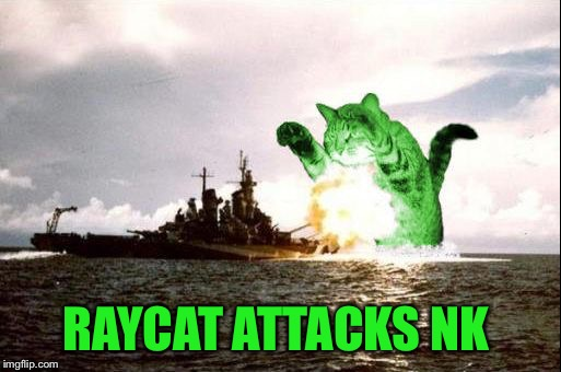 RayCatzilla | RAYCAT ATTACKS NK | image tagged in raycatzilla | made w/ Imgflip meme maker