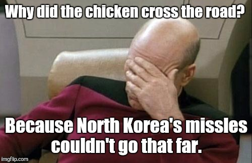 Captain Picard Facepalm Meme | Why did the chicken cross the road? Because North Korea's missles couldn't go that far. | image tagged in memes,captain picard facepalm | made w/ Imgflip meme maker
