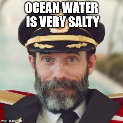 It sticks to your tongue too. | OCEAN WATER IS VERY SALTY | image tagged in thanks captain obvious,memes,i meme for a meming,wa wa wa wa,ca ca | made w/ Imgflip meme maker