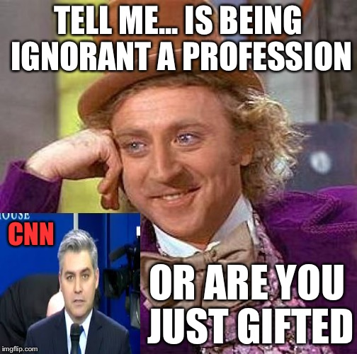 Creepy Condescending Wonka Meme | TELL ME... IS BEING IGNORANT A PROFESSION OR ARE YOU JUST GIFTED CNN | image tagged in memes,creepy condescending wonka | made w/ Imgflip meme maker