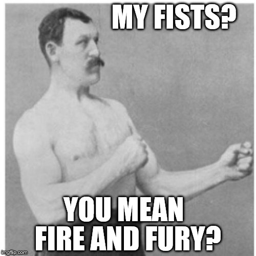 Overly Manly Man Hit 'em Hard  | MY FISTS? YOU MEAN FIRE AND FURY? | image tagged in memes,overly manly man,donald trump approves | made w/ Imgflip meme maker