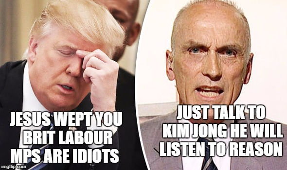 JUST TALK TO KIM JONG HE WILL LISTEN TO REASON JESUS WEPT YOU BRIT LABOUR MPS ARE IDIOTS | image tagged in donald trump | made w/ Imgflip meme maker