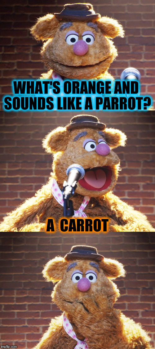 Fozzie Jokes | WHAT'S ORANGE AND SOUNDS LIKE A PARROT? A  CARROT | image tagged in fozzie jokes,memes,funny | made w/ Imgflip meme maker