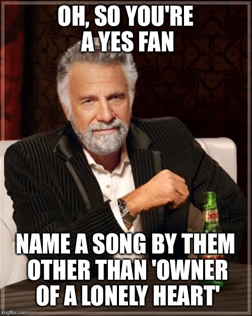 The Most Interesting Man In The World | OH, SO YOU'RE A YES FAN NAME A SONG BY THEM OTHER THAN 'OWNER OF A LONELY HEART' | image tagged in memes,the most interesting man in the world | made w/ Imgflip meme maker