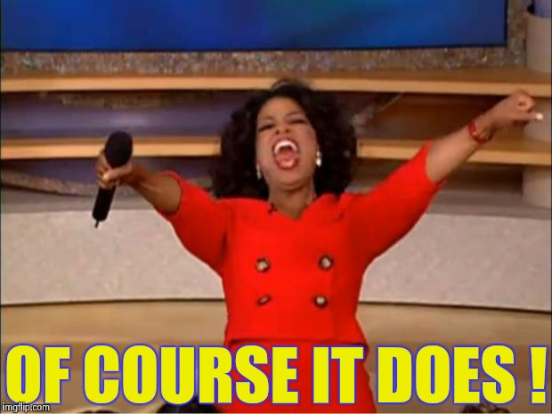 Oprah You Get A Meme | OF COURSE IT DOES ! | image tagged in memes,oprah you get a | made w/ Imgflip meme maker