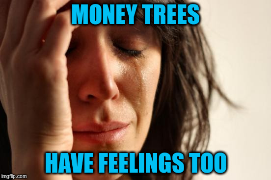 First World Problems Meme | MONEY TREES HAVE FEELINGS TOO | image tagged in memes,first world problems | made w/ Imgflip meme maker