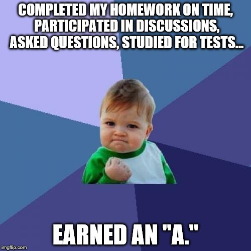 "Success Kid Meme | COMPLETED MY HOMEWORK ON TIME, PARTICIPATED IN DISCUSSIONS, ASKED QUESTIONS, STUDIED FOR TESTS... EARNED AN ""A."" 