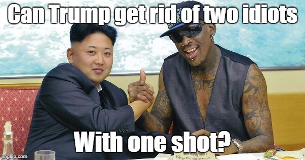 Can Trump get rid of two idiots With one shot? | image tagged in the world needs dennis rodman | made w/ Imgflip meme maker