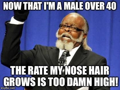 Too Damn High Meme | NOW THAT I'M A MALE OVER 40 THE RATE MY NOSE HAIR GROWS IS TOO DAMN HIGH! | image tagged in memes,too damn high | made w/ Imgflip meme maker