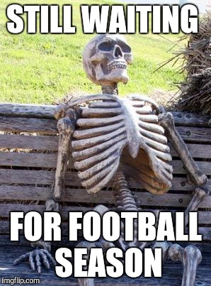 Waiting Skeleton Meme | STILL WAITING FOR FOOTBALL SEASON | image tagged in memes,waiting skeleton | made w/ Imgflip meme maker