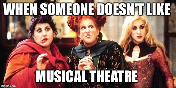 WHEN SOMEONE DOESN'T LIKE MUSICAL THEATRE | image tagged in hocus pocus | made w/ Imgflip meme maker