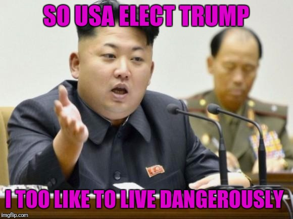 kim jong un | SO USA ELECT TRUMP I TOO LIKE TO LIVE DANGEROUSLY | image tagged in kim jong un | made w/ Imgflip meme maker