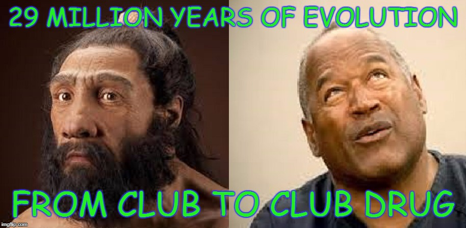 Club Drug | 29 MILLION YEARS OF EVOLUTION FROM CLUB TO CLUB DRUG | image tagged in roofie,oj simpson | made w/ Imgflip meme maker